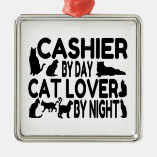 Cashier Cat Lover Square Metal Christmas Ornament