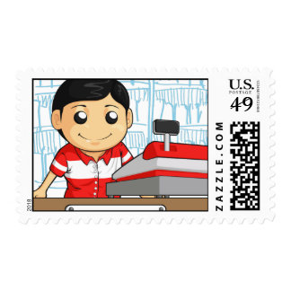 Cashier Employee with Friendly Smile Postage