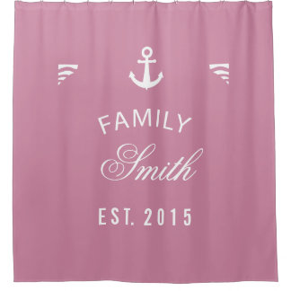 Cashmere Rose Family Nautical Anchor Personalized Shower Curtain