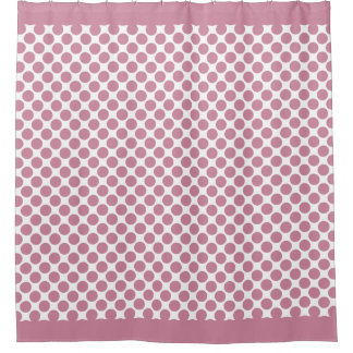 Cashmere Rose Pink Polka Dots Shower Curtain