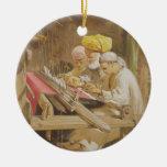 Cashmere Shawls: Weaving, 1863 (chromolitho) Double-Sided Ceramic Round Christmas Ornament