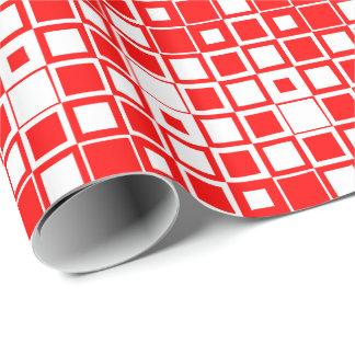 Casilla blanca roja/dentro del cuadrado papel de regalo