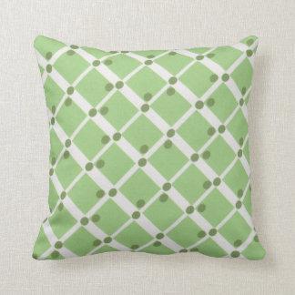 Casillas blancas verdes y y almohada de los puntos cojín decorativo