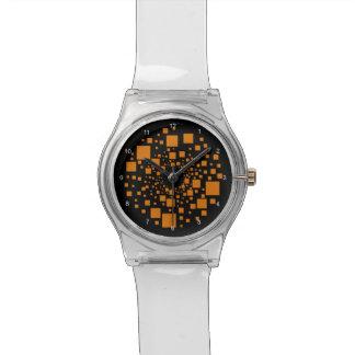 Casillas negras anaranjadas de la jalea femenina relojes de pulsera