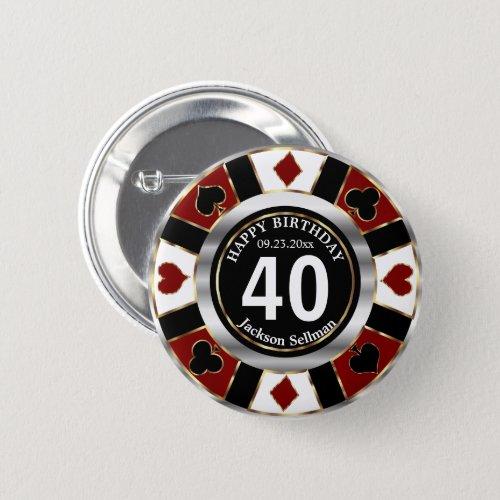 Casino 00th Birthday Party _ Dark Red Button