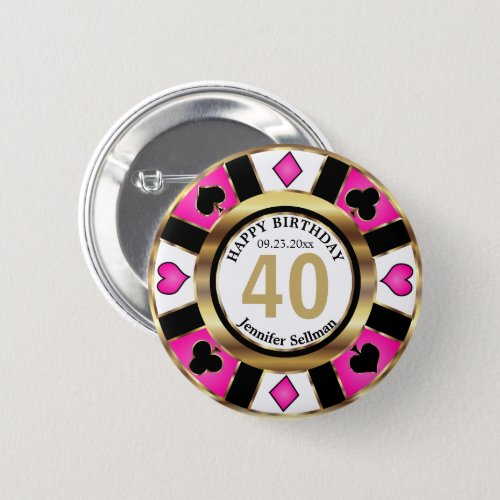Casino 00th Birthday Party _Pink Button