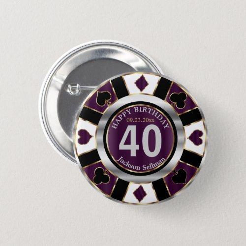 Casino 00th Birthday Party _ Plum Purple Button
