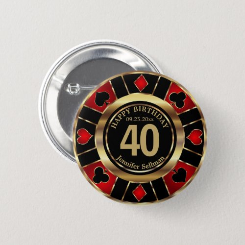 Casino 00th Birthday Party _ Red and Black Button