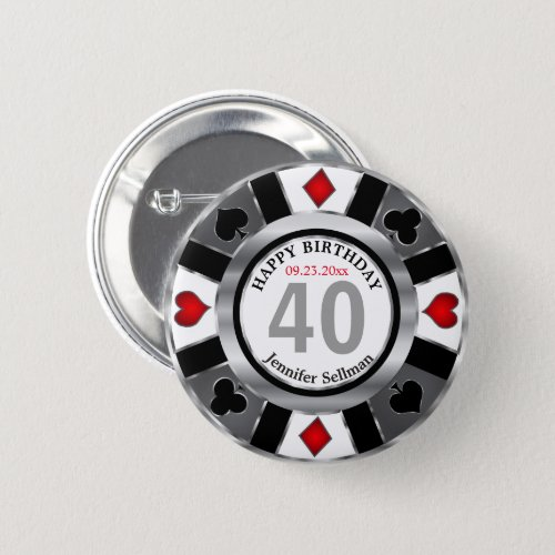 Casino 00th Birthday Party _Silver and Black Button