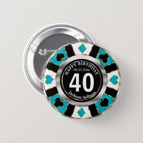 Casino 00th Birthday Party _Teal Button