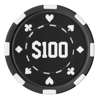 Casino, $100, Poker Chips, Black/White Poker Chip Set
