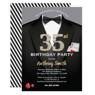 Casino 35th Birthday Invitation Black And White