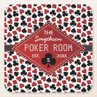 Casino adaptable del sitio del póker posavasos de cartón cuadrado
