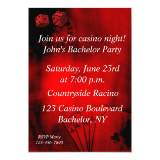 Casino Bachelor Party 5x7 Paper Invitation Card