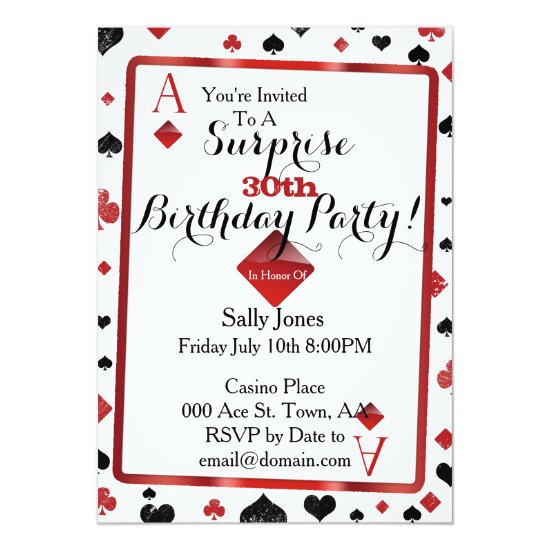 casino birthday surprise invitation