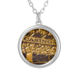 Casino Bright Lights Las Vegas Gambling Money Silver Plated Necklace