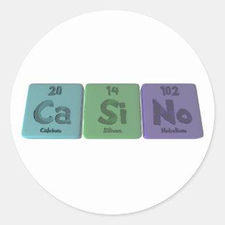 Casino-Ca-Si-No-Calcium-Silicon-Nobelium.png Classic Round Sticker