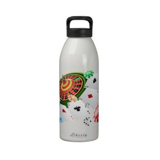 Casino, cards, roulette chips reusable water bottle