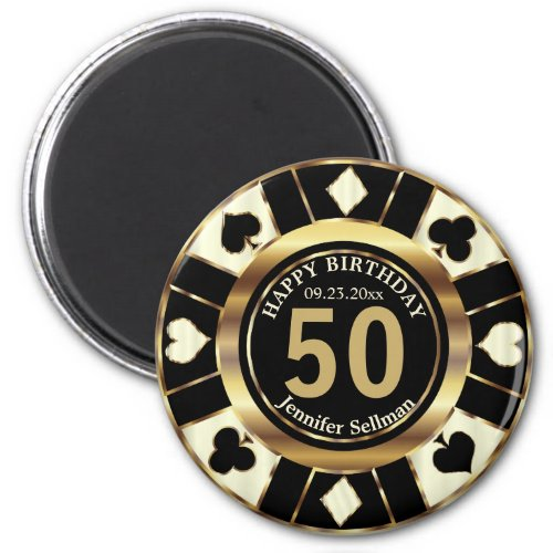 Casino Chip Las Vegas Birthday - Cream and Gold Magnet