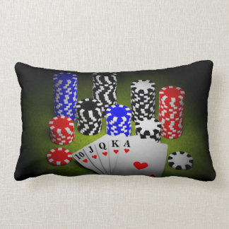 Casino chips and  playing cards lumbar pillow