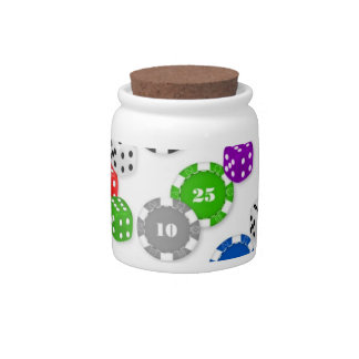 CASINO CHIPS & DICE CANDY JAR