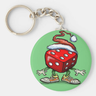 Casino Christmas Basic Round Button Keychain