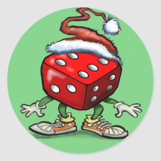 Casino Christmas Classic Round Sticker