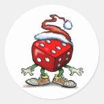Casino Christmas Round Stickers
