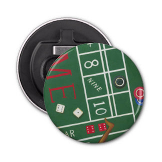 Casino Craps Table with Chips and Dice Bottle Opener