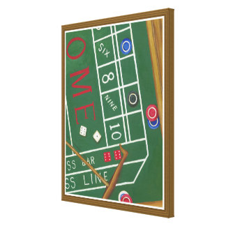 Casino Craps Table with Chips and Dice Canvas Print