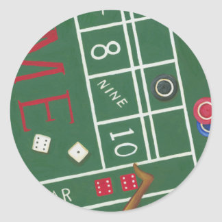 Casino Craps Table with Chips and Dice Classic Round Sticker