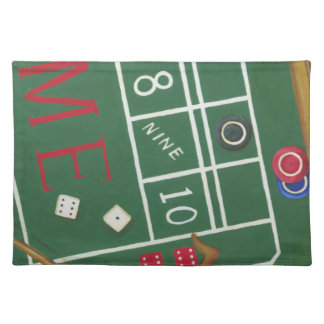 Casino Craps Table with Chips and Dice Cloth Placemat