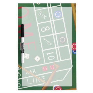 Casino Craps Table with Chips and Dice Dry-Erase Board