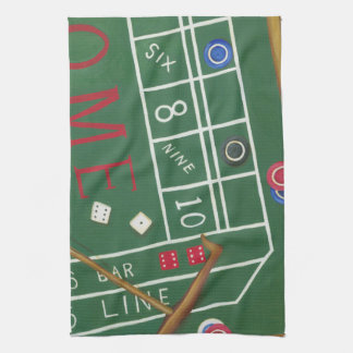 Casino Craps Table with Chips and Dice Kitchen Towel
