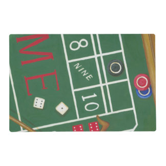 Casino Craps Table with Chips and Dice Laminated Placemat