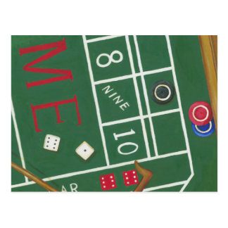 Casino Craps Table with Chips and Dice Postcard