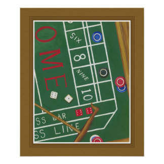 Casino Craps Table with Chips and Dice Poster