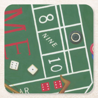 Casino Craps Table with Chips and Dice Square Paper Coaster