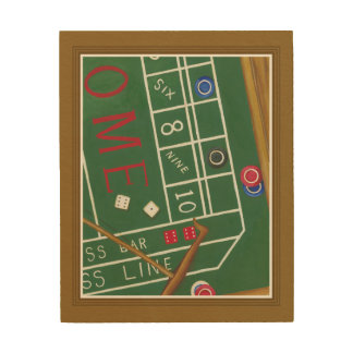 Casino Craps Table with Chips and Dice Wood Wall Decor