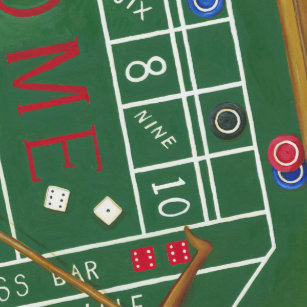 casino craps table with chips and dice wristwatch