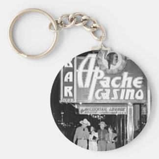 Casino de Apache y foto de Las Vegas del vintage d Llavero Redondo Tipo Pin