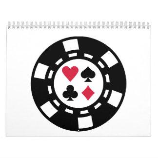 Casino de las fichas de póker calendario de pared