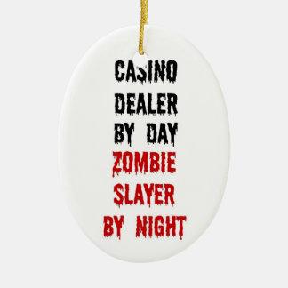 Casino Dealer Zombie Slayer Double-Sided Oval Ceramic Christmas Ornament