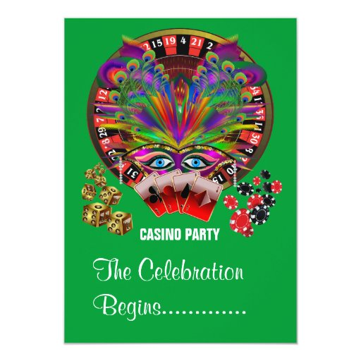 """Casino del fiesta de la mascarada invitación 5"""" x 7"""""""