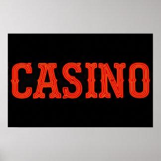 Casino en el rojo de neón póster