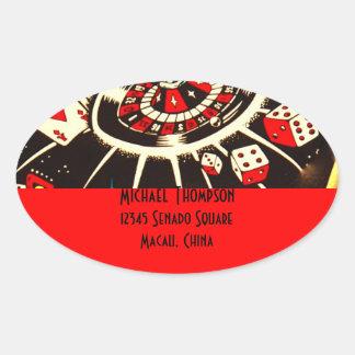 Casino Gambler Address Label in Lucky Red Oval Sticker