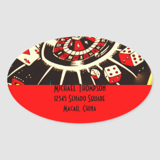 Casino Gambler Address Label in Lucky Red Sticker