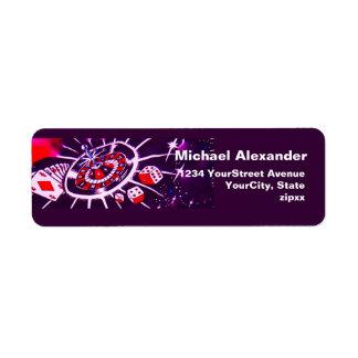 Casino Gambling Dice, Cards, Roulette Design Label