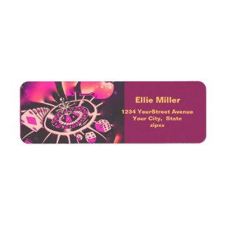 Casino Gambling Theme Pink Label