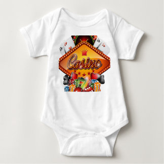 Casino illustration with gambling elements baby bodysuit
